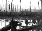 Soldiers of an Australian 4th Division field artillery brigade on a duckboard track passing through Chateau Wood, near Hooge in the Ypres salient, 29 October 1917. The leading soldier is Gunner James Fulton and the second soldier is Lieutenant Anthony Dev