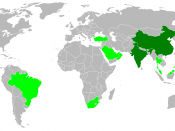 English: Green: Newly industrialized countries China and India (in dark green) may not fit the Human Development Index, but they hold the status of