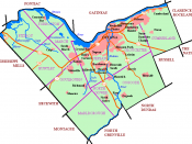 Map of post-2001 Ottawa showing urban area, highways, waterways, and historic townships