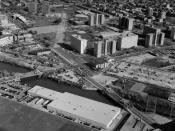 English: North Halsted Street Canal Bridge, Spanning North Branch Canal at North Halsted Street, Chicago, Cook County, IL. Looking north east toward Cabrini Green Housing Project. North Halsted Street at right, West Division Street at left; Goose Island a