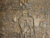 English: A cure required ! Fascinating late medieval graffito in the south porch of St.Chad's church. Superstitious belief held that if a representation of an afflicted body part was carved by the south door of the parish church, a cure would be forthcomi