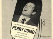 Perry Como for Chesterfield, Mondays, Wednesdays, and Fridays. Mutual Radio Network 1954