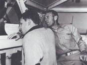 English: Jim Morrison and his father George Stephen Morrison on the bridge of the USS Bon Homme Richard (CVA-31).