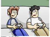 A slightly edited excerpt from the Ctrl+Alt+Del webcomic showing Ethan and Lucas, the main characters of Ctrl+Alt+Del, gaming on the couch.