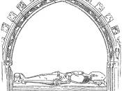 English: An line illustration of the effigy of Effigy of Sir Kenneth Mackenzie of Kintail located at Beauly Priory.