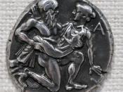 Satyr abducting a nymph. Obverse of a silver tetradrachm of Thasos.