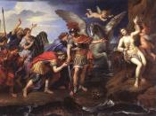 Metamorphoses of Ovide: the king of Greece, Céphée, and the queen, Cassiopé, thank the hero Perseus for having delivered their daughter Andromeda, offered in sacrifice to a marine monster.
