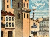 Lenormand jumps from the tower of the Montpellier observatory, 1783. Illustration from the late 19th Century.
