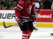 English: Ice hockey forward Jeff Carter during Hockey Canada's Red-White game during pre-Olympic camp at Calgary, Alberta.