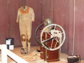 English: Cave diving equipment from 1935 at Wookey Hole Caves Museum