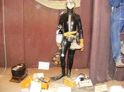 English: Cave diving equipment in the museum at Wookey Hole Caves