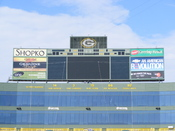 English: North end zone at Lambeau Field which displays the Packers retired numbers.
