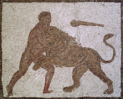 Hercules fighting the Nemean Lion. Detail of The Twelve Labours Roman mosaic from Llíria (Valencia, Spain).