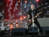 English: Lars Ulrich and James Hetfield from Metallica performing at Sonisphere Festival in Kirjurinluoto, Pori, Finland.