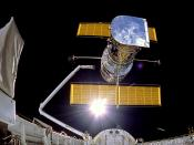 English: IMAX Cargo Bay Camera view of the Hubble Space Telescope at the moment of release, mission STS-31.