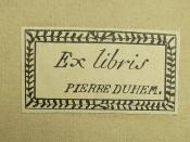 Book label of Pierre Maurice Marie Duhem (1861-1916)