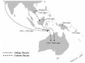 English: theoretical migration of the dingoes, includes the theories of corbett and gollan Deutsch: Theoretische Wanderroute der Dingos