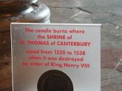 Candle marking the former spot of the shrine of Thomas Becket, at Canterbury Cathedral