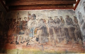 English: Mural depicting Hernan Cortes greeting the first 12 Franciscan monks in Tenochtitlan. by unknown author from the 16th century. At the Immaculate Conception Church in Ozumba, Mexico State