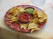 Tortilla chips, salsa, and guacamole from the Restaurant Weisshorn, Zermatt, Switzerland