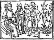 English: A woodcarving of Belial and some of his followers from Jacobus de Teramo's book Buch Belial (1473)