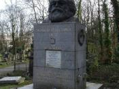 Photograph of the tomb of Karl Marx at Highgate Cemetery, London