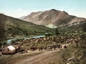 An 1898 photochrom of a round-up in or near the town of Cimarron, Colorado, USA.
