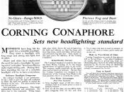 1917 advertisement for the Corning Conaphore headlamp lens shown above.