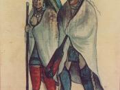 English: Algonquin Couple, an 18th-century watercolor by an unknown artist. Courtesy of the City of Montreal Records Management & Archives, Montreal, Canada. Français : Couples d'algonquins vers 1700 et 1720, anonyme, aquarelle, bibliothèque de la ville d