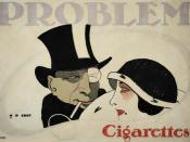 Hans Rudi Erdt: Problem Cigarettes, 1912 . Advertising poster. Color Lithograph, 26,6 x 36,9 in. / 67,6 x 93,7 cm