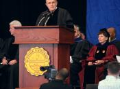 Former New York City Mayor Rudy Giuliani speaking at Suffolk University