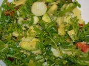 Rocket (rucola), tomatoes, potatoes, avocado, garlic, Aceto balsamico di Modena, olive oil, soy sauce, pepper.