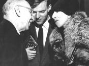 Jurij Moskvitin (middle) acompaning Karen Blixen/Isak Dinesen (right) meeting composer Igor Stravinskij (left) at the City Hall of Copenhagen