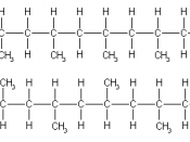 Short segments of polypropylene, showing examples of isotactic (above) and syndiotactic (below) tacticity.