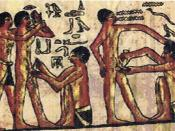 Egyptian Doctor treating laborers on Papyrus