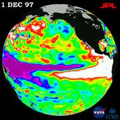OSTM/Jason-2's predecessor TOPEX/Poseidon caught the largest El Niño in a century seen in this image from Dec. 1, 1997.