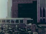 Procession of emergency vehicles at the World Trade Center bombing on February 26, 1993. The Tower is on the far right of the frame. Photo taken by Eric Ascalon from an adjacent pedestrian walkway.