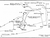 Map showing British and German ships and movements at the Battle of Heligoland Bightl, First Phase, 28 August November 1914.