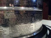 The engraved names of the 2000-01 Stanley Cup champions Colorado Avalanche.