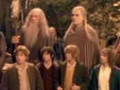 The eponymous Fellowship from left to right: (Top row) Aragorn, Gandalf, Legolas, Boromir, (bottom row) Sam, Frodo, Merry, Pippin, Gimli.