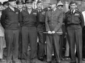 Description: front row (left to right) General Omar Bradley, Eisenhower, General Marie-Pierre Koenig and Air Marshal Tedder in Paris, 1944