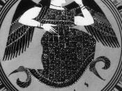 Eris (from inscription). Tondo of an Attic black-figure kylix.