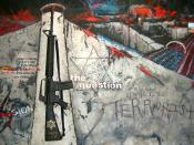 English: 1 The Question to be Asked..., 43x76 inches, canvas,concrete texture, replica M16, 2005