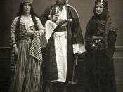(1): Bedouin from the province of Halep (Aleppo); (2): Bedouin woman from the province of Halep (Aleppo); and (3): married Jewish woman from Halep (Aleppo). Les Costumes Populaires De La Turquie, en 1873.A collection of photographs by the famous photograp