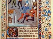 English: Law and legal affairs in 15th century Normandy, France: duel with swords between plaintiff and defendant. Hand-painted color miniatures with ornate borders. Illustration in: The Costumes de Normandie, ca. 1450-1470 (folio 89).