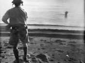 Australian War Memorial image 013968. A Japanese soldier in the water off Cape Endaiadere, New Guinea moments before committing suicide with a grenade he is holding to his head. The Australian soldier on the beach had called on him to surrender, including