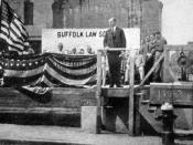 English: This is a 1920 photo of U.S. President Calvin Coolidge at Suffolk University Law School in Boston, Massachusetts, laying the cornerstone, published by Suffolk.