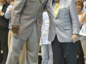 Michael Jordan and Dean Smith photo at UNC game Feb. 10, 2007