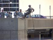 English: Reserve Officers' Training Corps members practicing rappelling at the University of Michigan.