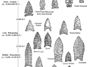 different types of Projectile points, from the palaeoindian period in the south eastern USA